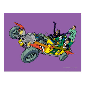 Batman Villains In Jokermobile Postcard