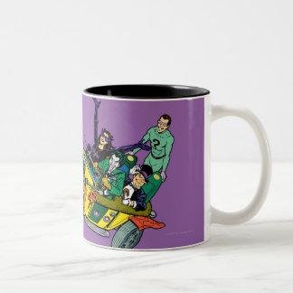 Batman Villains In Jokermobile Two-Tone Coffee Mug