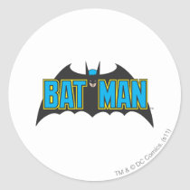 Batman | Vintage Blue Black Logo Classic Round Sticker