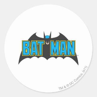 Batman | Vintage Blue Black Logo Classic Round Sticker
