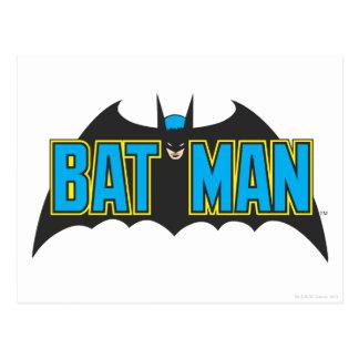 Batman | Vintage Blue Black Logo Postcard