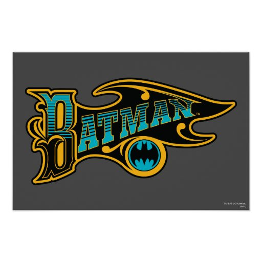 Batman   Vintage Turquoise Logo Poster