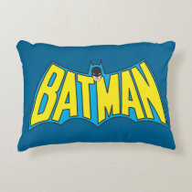Batman | Vintage Yellow Blue Logo Accent Pillow