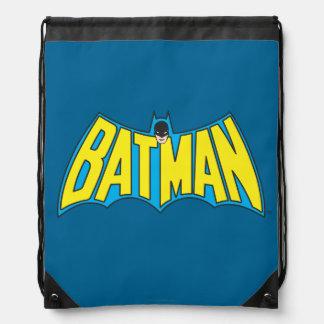 Batman | Vintage Yellow Blue Logo Drawstring Backpack