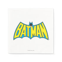 Batman | Vintage Yellow Blue Logo Paper Napkin