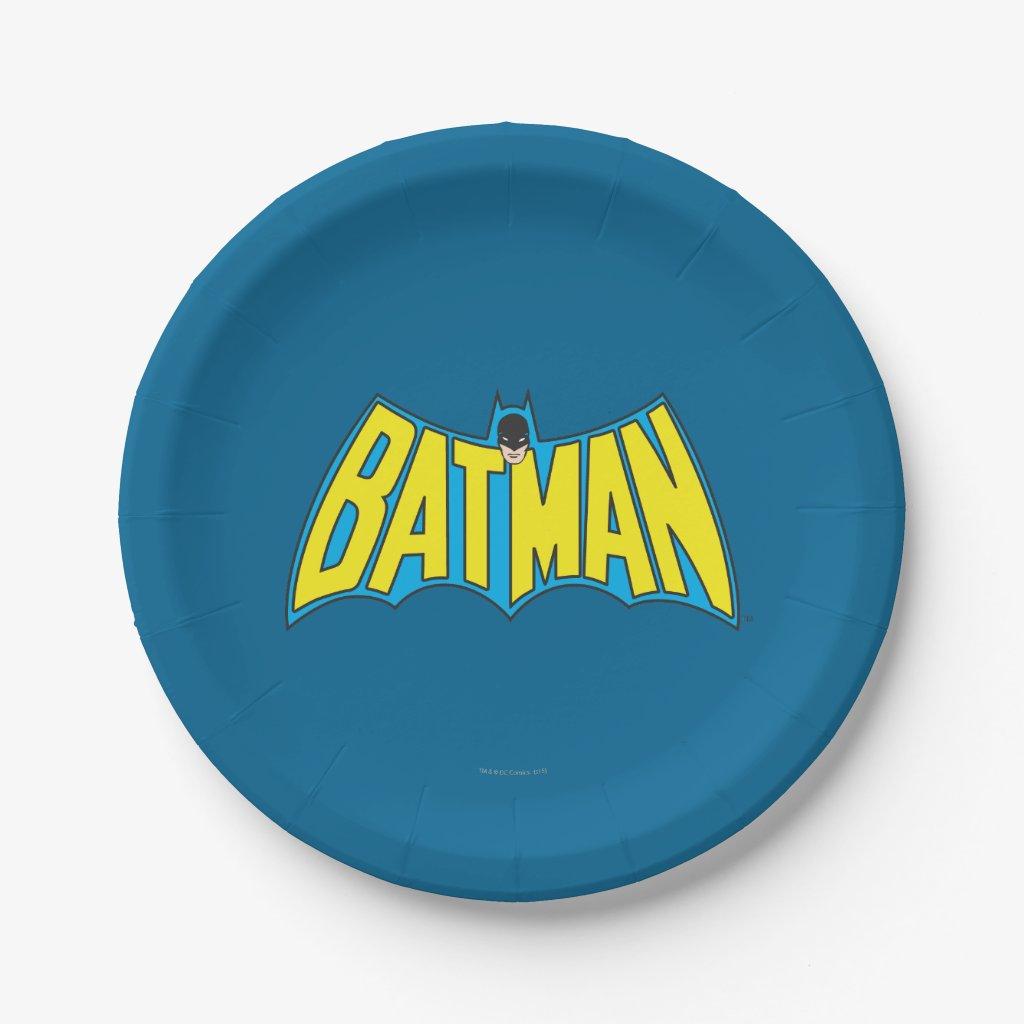 Batman | Vintage Yellow Blue Logo Paper Plate