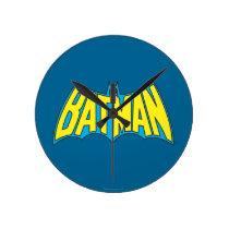 Batman   Vintage Yellow Blue Logo Round Clock