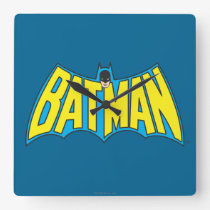 Batman | Vintage Yellow Blue Logo Square Wall Clock