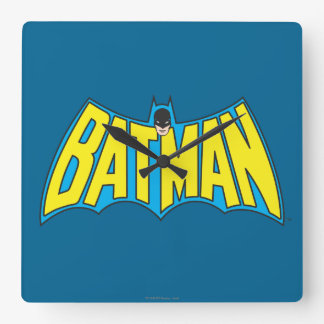 Batman | Vintage Yellow Blue Logo Square Wall Clock