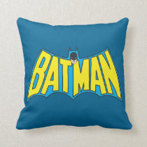 Batman | Vintage Yellow Blue Logo Throw Pillow