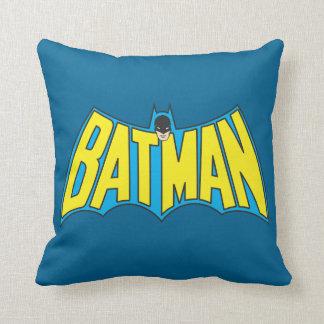 Batman   Vintage Yellow Blue Logo Throw Pillow