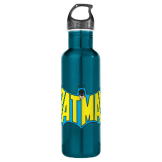 Batman | Vintage Yellow Blue Logo Water Bottle