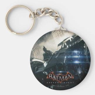 Batman With Batmobile In The Rain Basic Round Button Keychain