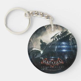 Batman With Batmobile In The Rain Double-Sided Round Acrylic Keychain
