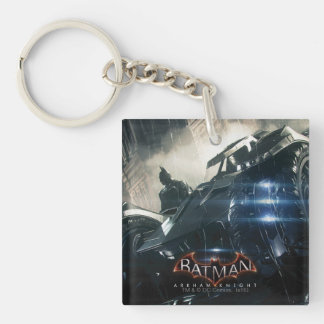 Batman With Batmobile In The Rain Double-Sided Square Acrylic Keychain