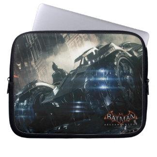 Batman With Batmobile In The Rain Laptop Sleeve