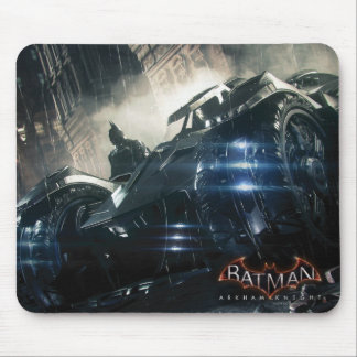 Batman With Batmobile In The Rain Mouse Pad