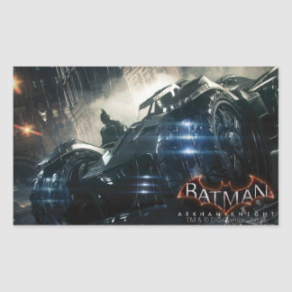 Batman With Batmobile In The Rain Rectangular Sticker