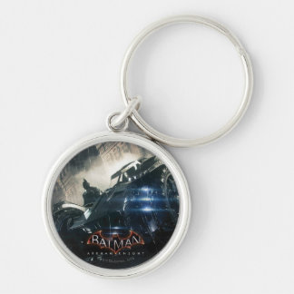 Batman With Batmobile In The Rain Silver-Colored Round Keychain