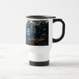 Batman With Batmobile In The Rain Travel Mug