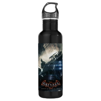 Batman With Batmobile In The Rain Water Bottle