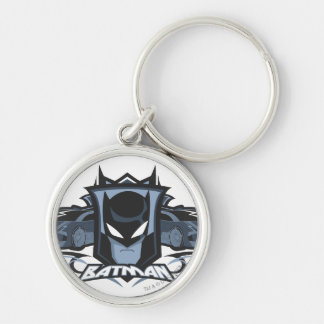 Batman with Batmobiles Silver-Colored Round Keychain