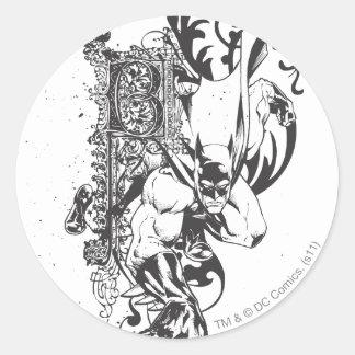 Batman with Ornate Letter Classic Round Sticker