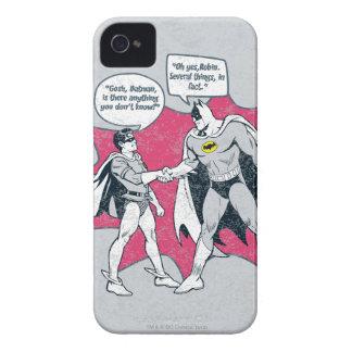 Batman y apretón de manos apenados del petirrojo Case-Mate iPhone 4 protector