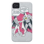 Batman y apretón de manos apenados del petirrojo iPhone 4 Case-Mate protector