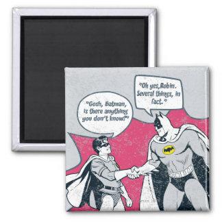 Batman y apretón de manos apenados del petirrojo iman de frigorífico