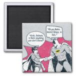 Batman y apretón de manos apenados del petirrojo imán cuadrado