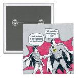 Batman y apretón de manos apenados del petirrojo pin cuadrado