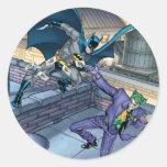 Batman y comodín - batalla etiqueta redonda