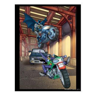 Batman y comodín - motocicletas del montar a tarjeta postal