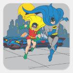 Batman y funcionamiento del petirrojo pegatinas cuadradases personalizadas