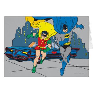 Batman y funcionamiento del petirrojo tarjeta de felicitación