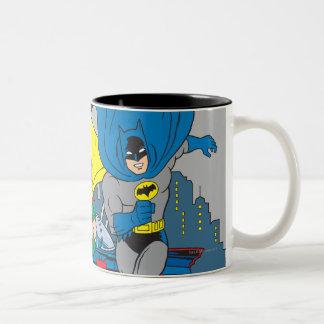 Batman y funcionamiento del petirrojo taza de café de dos colores