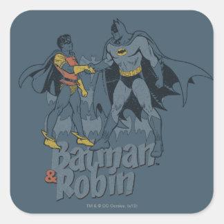 Batman y gráfico apenado petirrojo pegatina cuadrada