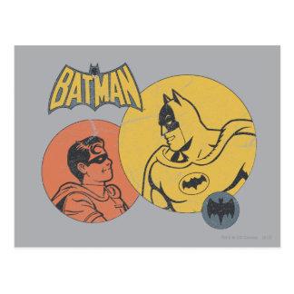 Batman y gráfico del petirrojo - apenado tarjetas postales