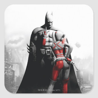 Batman y Harley Pegatina Cuadrada