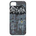 Batman y petirrojo con el gráfico apenado logotipo iPhone 5 cárcasas