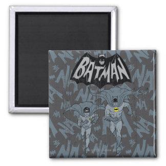 Batman y petirrojo con el gráfico apenado logotipo imán cuadrado