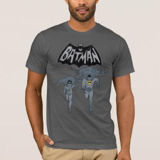 Batman y petirrojo con el gráfico apenado logotipo playera