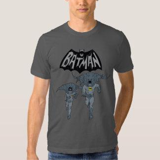Batman y petirrojo con el gráfico apenado logotipo poleras