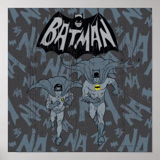 Batman y petirrojo con el gráfico apenado logotipo póster