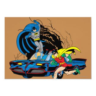 Batman y petirrojo en Batcave Invitación 12,7 X 17,8 Cm