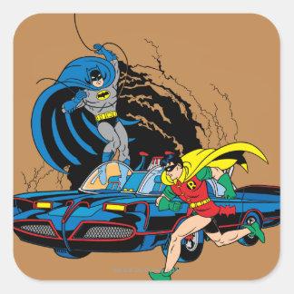 Batman y petirrojo en Batcave Calcomanías Cuadradass