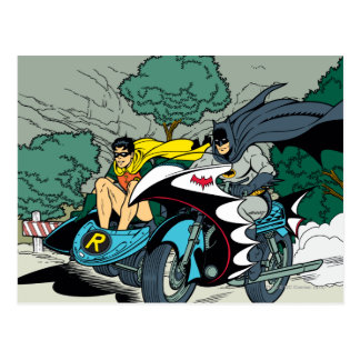 Batman y petirrojo en Batcycle Postales
