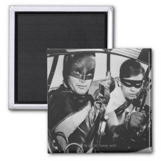 Batman y petirrojo en Batmobile Imán Cuadrado
