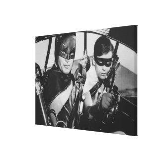 Batman y petirrojo en Batmobile Lienzo Envuelto Para Galerias